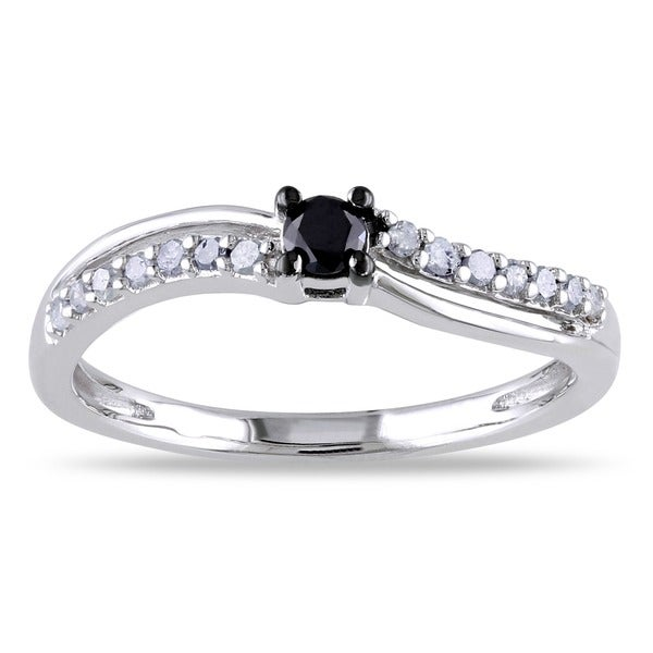Miadora Sterling Silver 1/4ct TDW Black and White Diamond Promise Ring