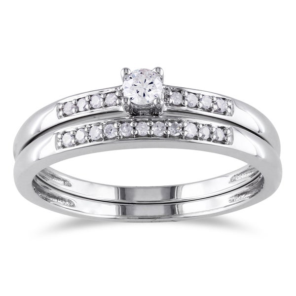 Miadora Sterling Silver 1/5ct TDW Diamond Bridal Ring Set
