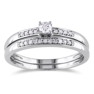 Miadora Sterling Silver 1/5ct TDW Diamond Bridal Ring Set (G-H, I2-I3)