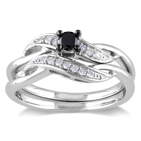 Miadora Sterling Silver 1/4ct TDW Black and White Diamond Crossover Bridal Ring Set