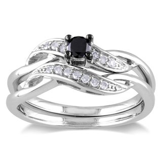 Sterling Silver 1/4ct TDW Black and White Diamond Crossover Bridal Ring Set by Miadora