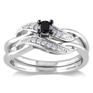 Miadora Sterling Silver 1/4ct TDW Black and White Diamond Crossover Bridal Ring Set