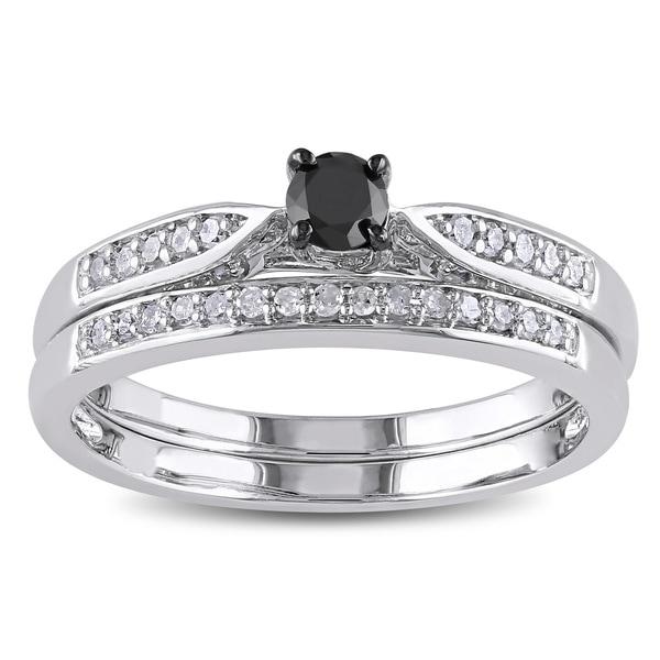 Sterling Silver 1/3ct TDW Black and White Diamond Ring Set (H-I I2-I3)
