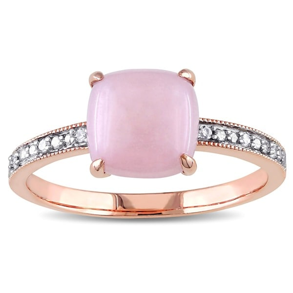 Miadora 10k Rose Gold Pink Opal and Diamond Cocktail Ring