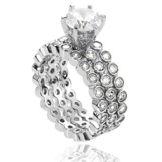 Journee Collection Marquise-cut Cubic Zirconia Bridal-style Ring Set