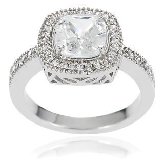 Journee Collection White Cushion-set Cubic Zirconia Bridal-style Ring