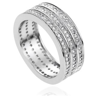 Journee Collection Round Pave-set Cubic Zirconia Bridal-style Ring