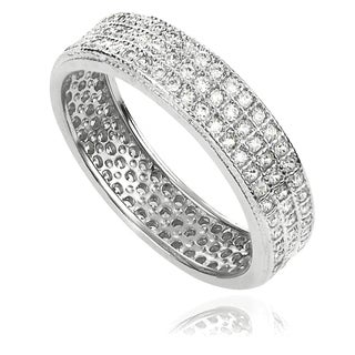 Journee Collection White Pave-set Cubic Zirconia Bridal-style Ring