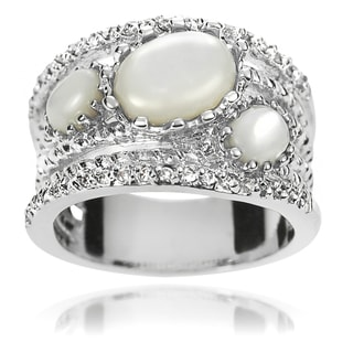 Journee Collection Brass Moonstone and Cubic Zirconia Bridal-style Ring