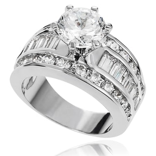 Journee Collection Brass Cubic Zirconia Bridal-style Ring