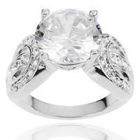 Journee Collection Brass Round-cut Cubic Zirconia Bridal-style Ring