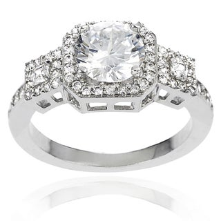 Journee Collection Brass White Round-cut Cubic Zirconia Bridal-style Ring