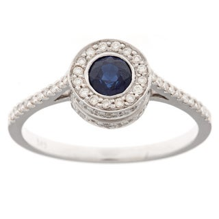 Neda Behnam 14k Gold Sapphire and 1/3ct TDW Diamond Ring (H-I, SI1-SI2)