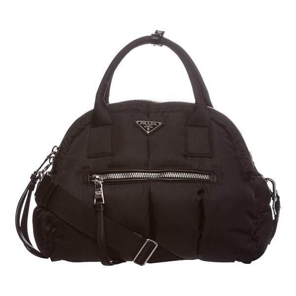 4e083a7ede italy prada x27bomberx27 black nylon top handle bag 37c0e aa7d2
