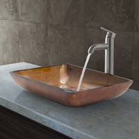 VIGO Rectangular Russet Glass Vessel Sink and Faucet Set in Brushed Nickel