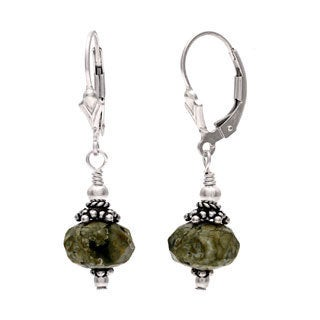 Charming Life Sterling Silver 'Amazonas' Green Jasper Dangle Earrings