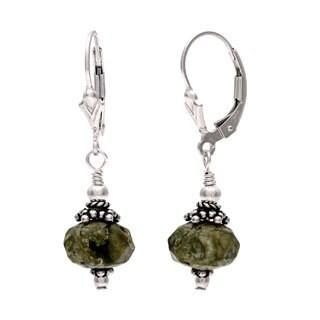 Lola's Jewelry Sterling Silver 'Amazonas' Green Jasper Dangle Earrings