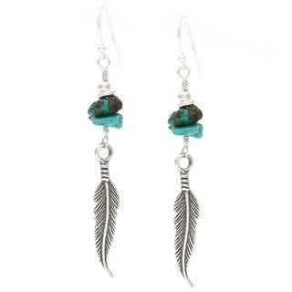 Charming Life Sterling Silver 'Long Beach Feathers' Turquoise Chip Feather Hook Earwire Earrings