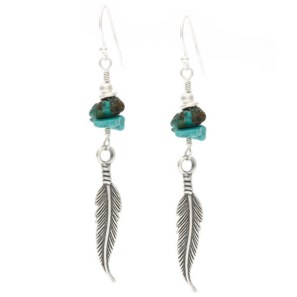 Lola's Jewelry Sterling Silver 'Long Beach Feathers' Turquoise Chip Feather Hook Earwire Earrings