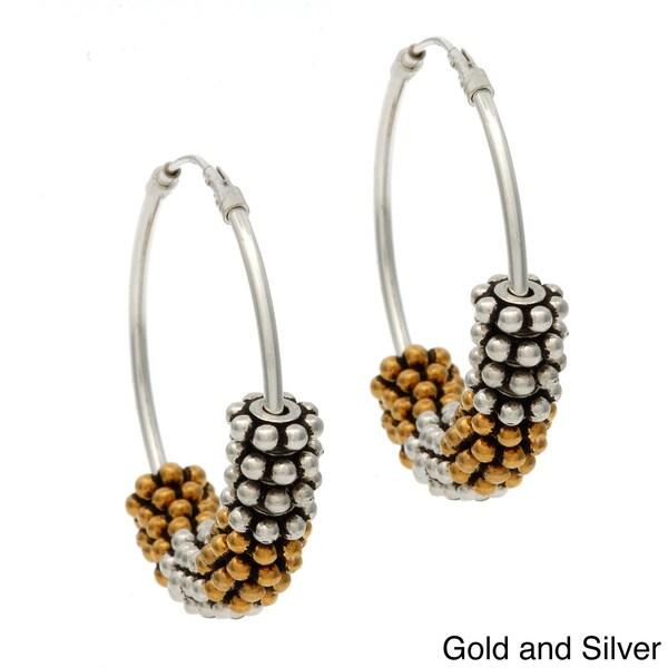 Lola's Jewelry Sterling Silver 'Daisy Wheel' Hoop Earrings