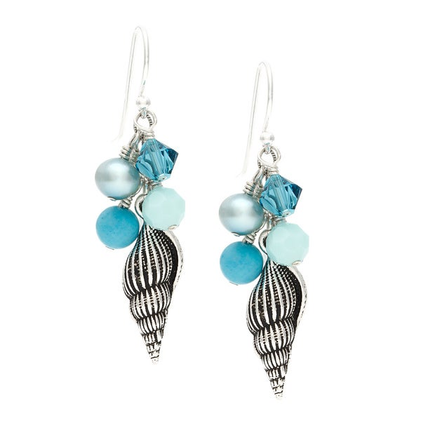 Lola's Jewelry Sterling Silver 'Galapagos Seashell' Fringe Hook Earrings