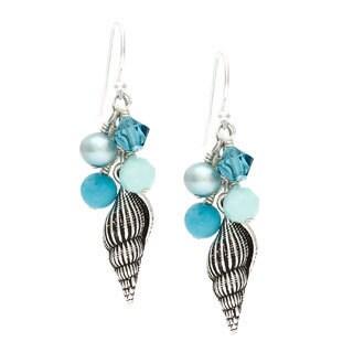 Charming Life Sterling Silver 'Galapagos Seashell' Fringe Hook Earrings