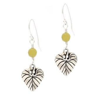 Lola's Jewelry Sterling Silver 'Leaf of Life' Jade Earrings