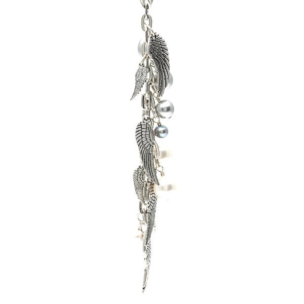 Lola's Jewelry Silver 'Wings' Angel Wings and Faux Pearl Fringe 30-inch Necklace