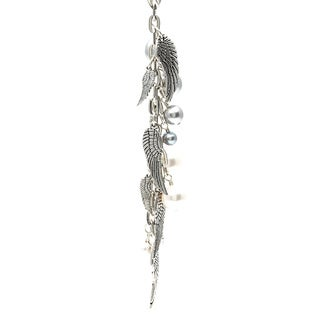 Charming Life Silver 'Wings' Angel Wings and Faux Pearl Fringe 30-inch Necklace