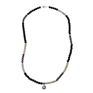 Lola's Jewelry Sterling Silver Unisex 'Classy in Black' Grey and Black Onyx Omm Charm Necklace