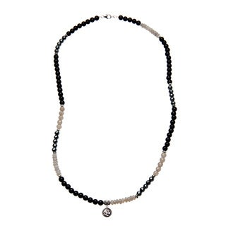 Charming Life Sterling Silver Unisex 'Classy in Black' Grey and Black Onyx Omm Charm Necklace
