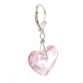 Charming Life Sterling Silver 'In Love' Heart Crystal Earrings