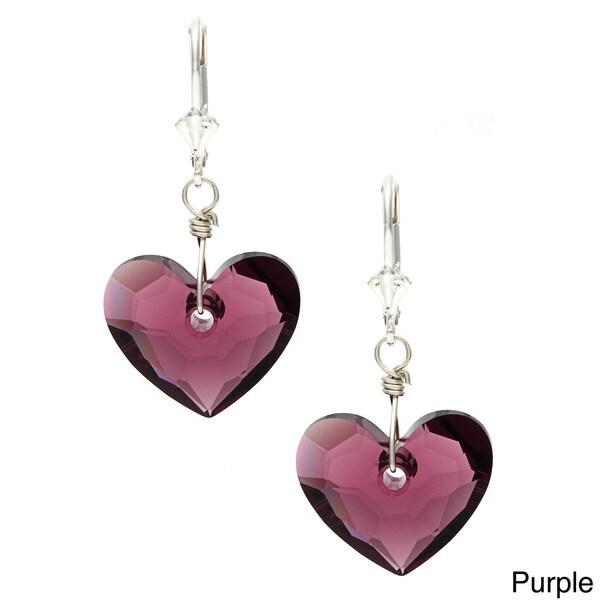 Lola's Jewelry Sterling Silver 'In Love' Heart Crystal Earrings