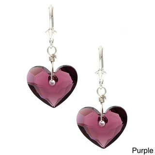 Lola's Jewelry Sterling Silver 'In Love' Heart Crystal Earrings