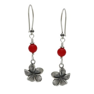 Lola's Jewelry Sterling Silver Red Coral Flower Charm Dangle Earrings