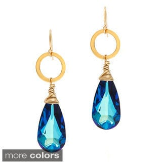 Lola's Jewelry 14k Gold Overlay Crystal Drop Dangle Earrings