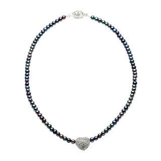 Charming Life 'Ambato Heart' Freshwater Peacock Pearls and Heart Charm Necklace (4-5mm)
