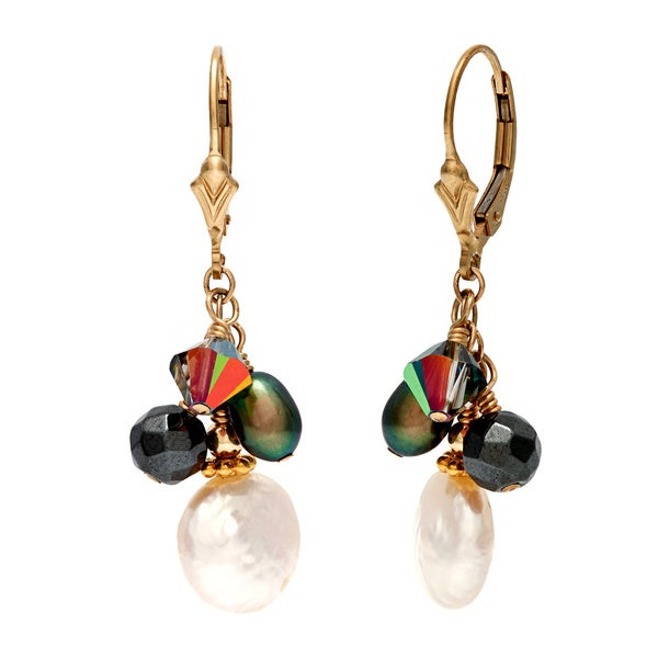 Lola's Jewelry 14k Goldfill White Coin Freshwater Pearls and Hematite Fringe Earrings