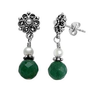 Lola's Jewelry Sterling Silver Green Aventurine Post Earrings