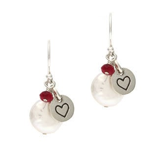Charming Life Sterling Silver White Coin Freshwater Pearl and Heart Charm Hook Earrings