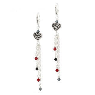 Lola's Jewelry Silver 'Twilight Hearts' Black and Red Crystals Fringe Heart Long Earrings