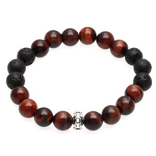 Lola's Jewelry Red Tiger's Eye and Lava Rock 'Lucky Me' Unisex Stretch Bracelet