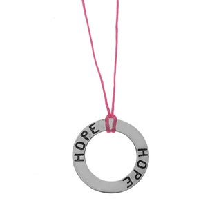 Lola's Jewelry Sterling Silver 'Circle of Hope' Waxed Linen Thread Necklace