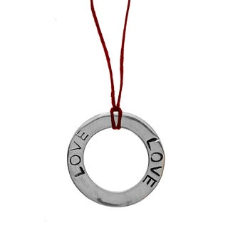 Lola's Jewelry Sterling Silver 'Circle of Love' Waxed Linen Thread Adjustable Necklace
