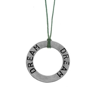 Charming Life Sterling Silver 'Circle of Dreams' Waxed Linen Thread Adjustable Necklace