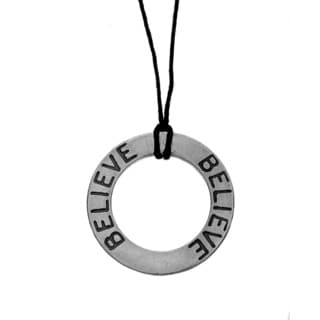 Charming Life Sterling Silver 'Circle of Beliefs' Waxed Linen Thread Adjustable Necklace