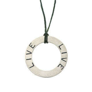 Charming Life Sterling Silver 'Circle of Life' Waxed Linen Thread Adjustable Necklace