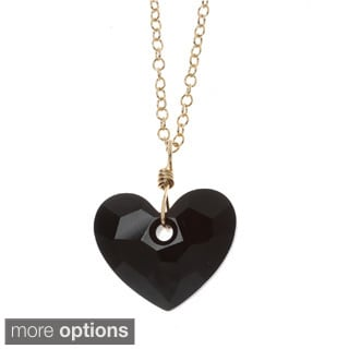 Lola's Jewelry 14k Goldfill 'In Love' Heart Crystal Pendant Necklace