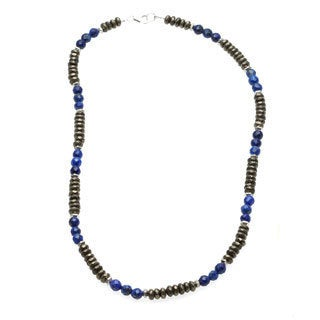 Charming Life Men's 'Money and Good Luck' Pyrite and Blue Lapis Necklace