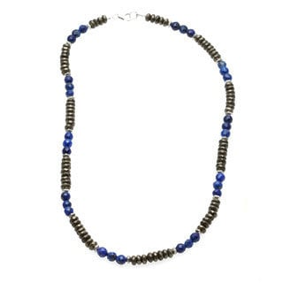 Lola's Jewelry Men's 'Money and Good Luck' Pyrite and Blue Lapis Necklace